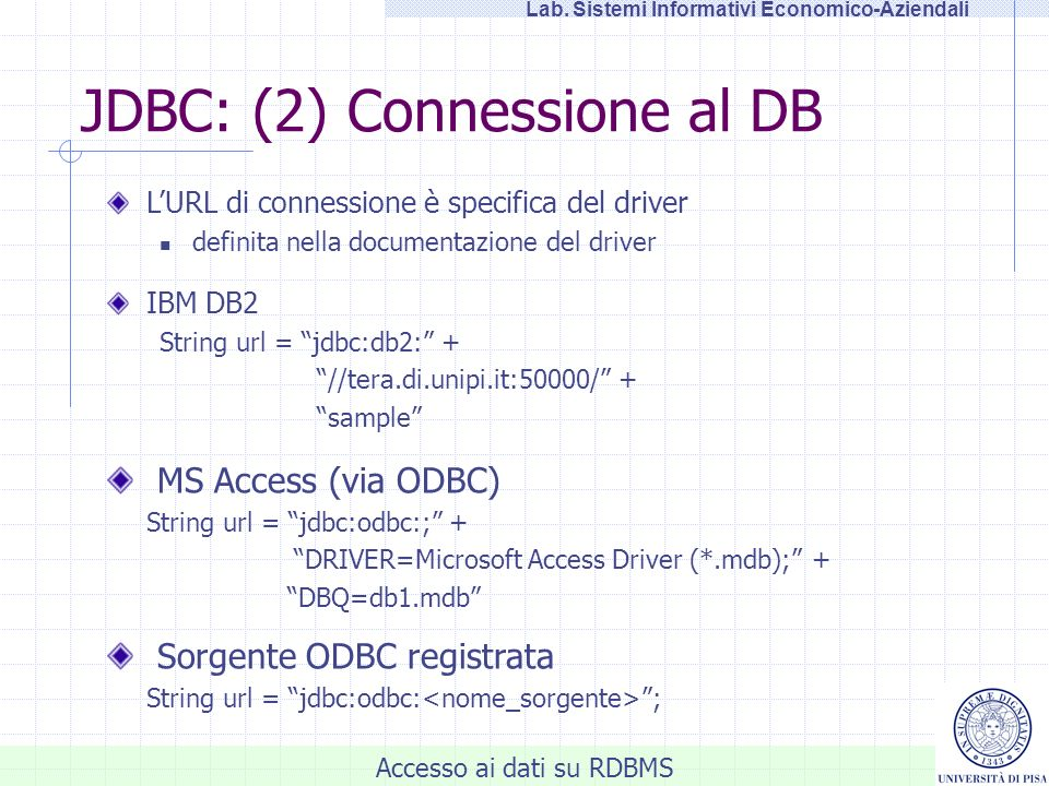 JDBC: (2) Connessione al DB