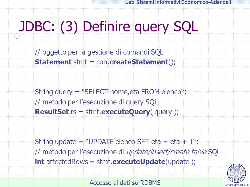 JDBC: (3) Definire query SQL