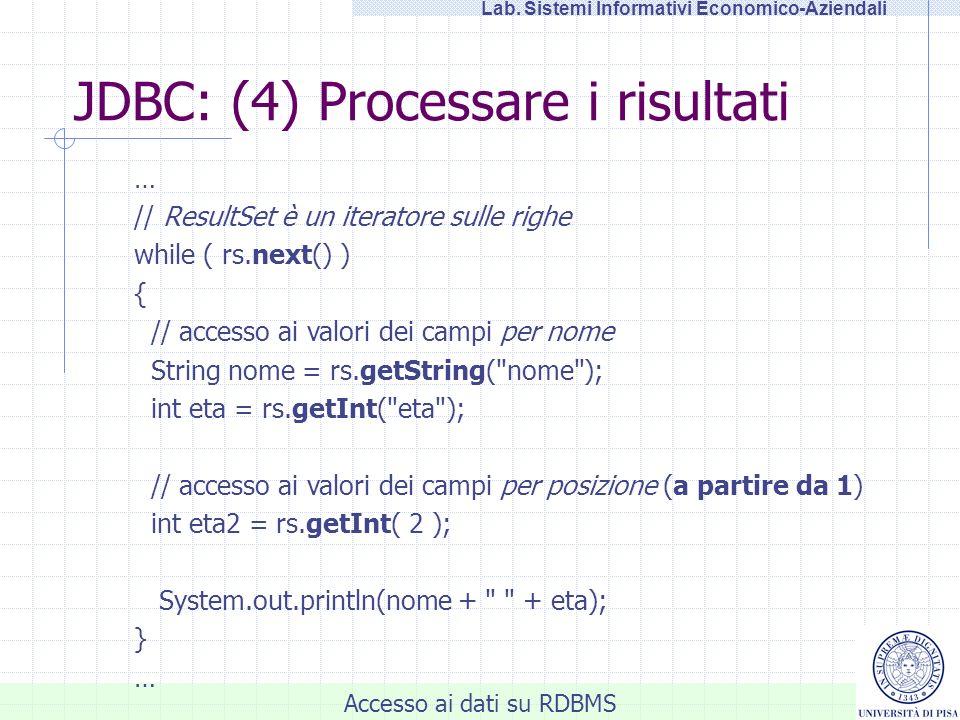 JDBC: (4) Processare i risultati