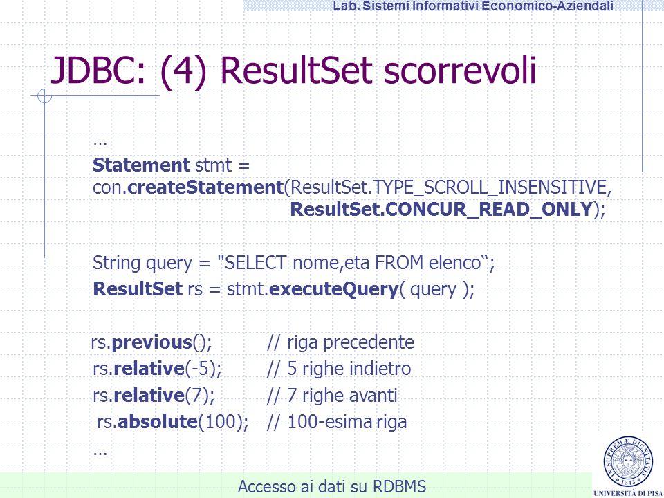 JDBC: (4) ResultSet scorrevoli