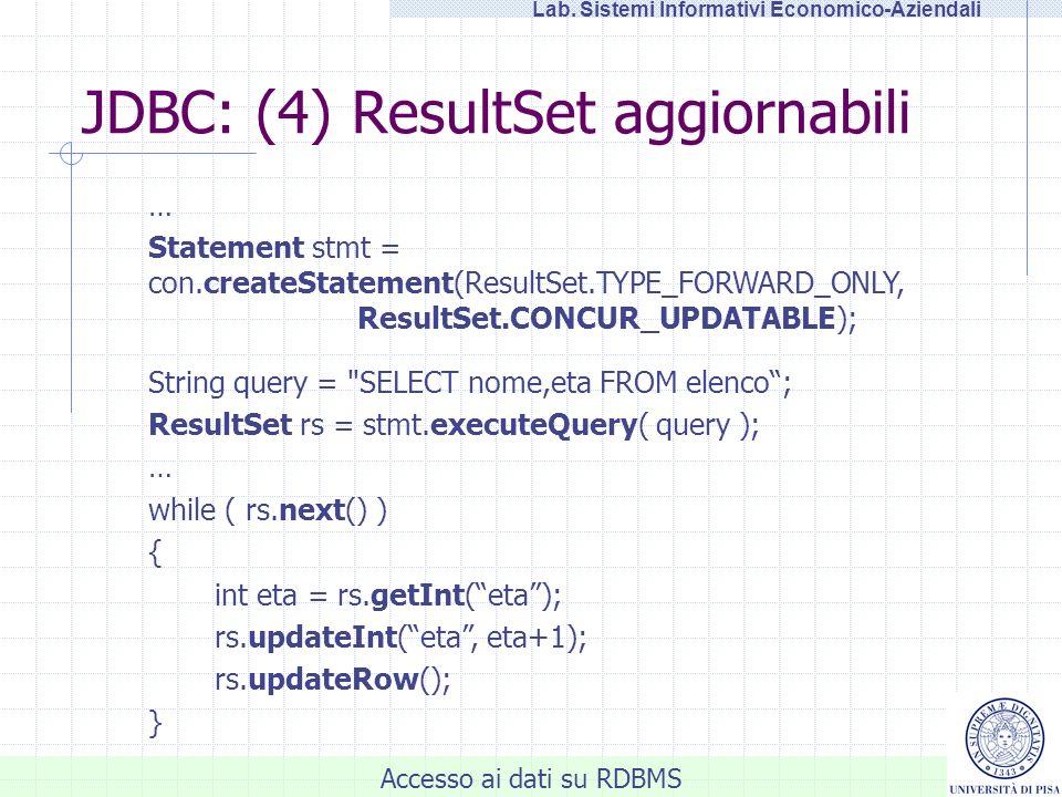 JDBC: (4) ResultSet aggiornabili
