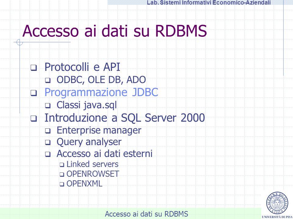 Accesso ai dati su RDBMS
