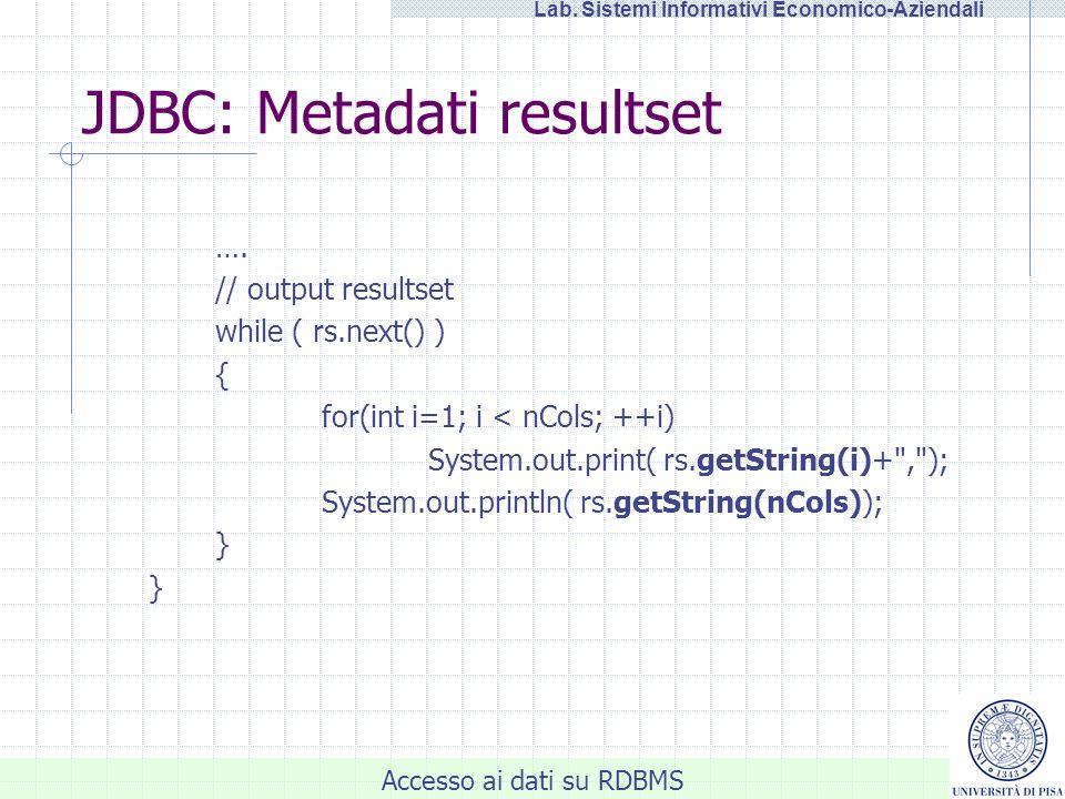 JDBC: Metadati resultset