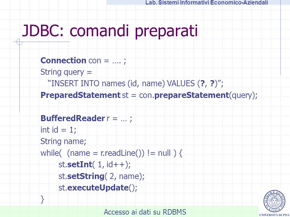 JDBC: comandi preparati