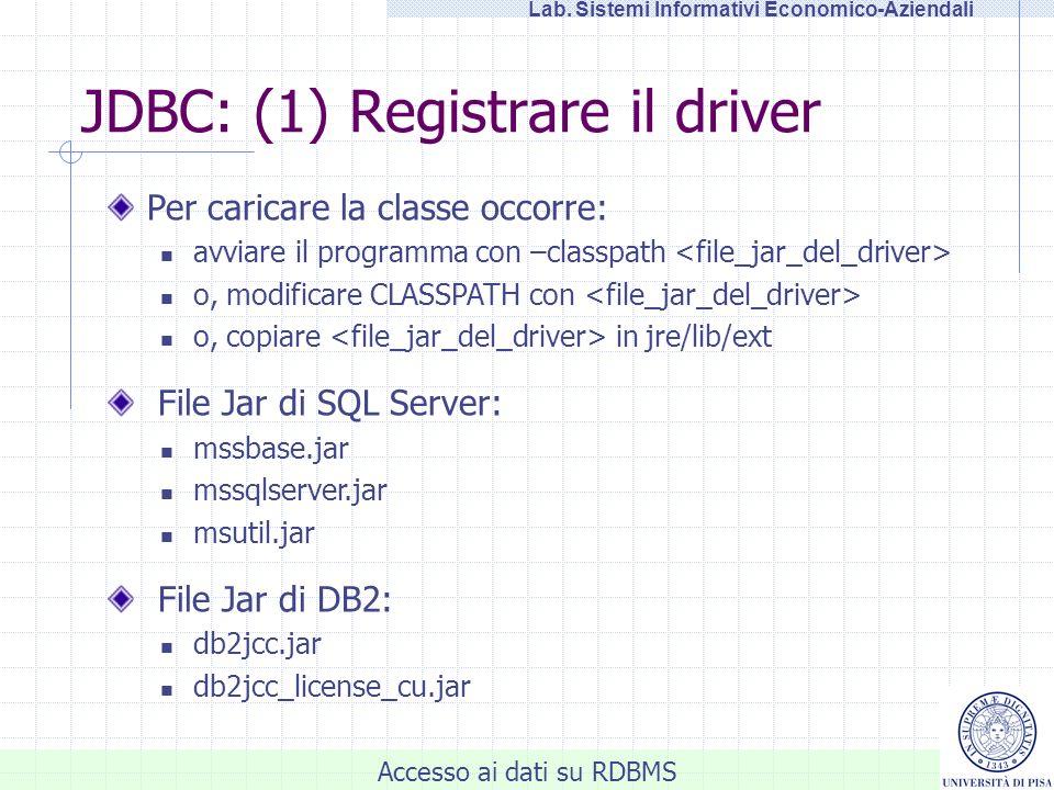 JDBC: (1) Registrare il driver