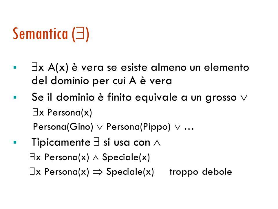 Semantica () x A(x) è vera se esiste almeno un elemento del dominio per cui A è vera. Se il dominio è finito equivale a un grosso 