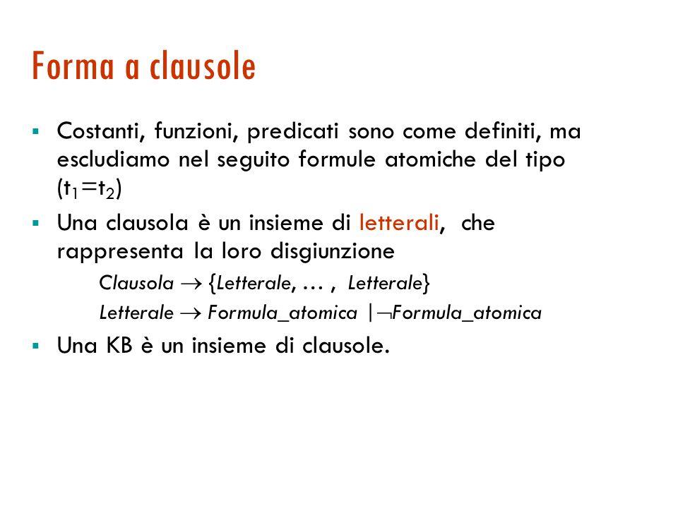 Forma a clausole Costanti, funzioni, predicati sono come definiti, ma escludiamo nel seguito formule atomiche del tipo (t1=t2)