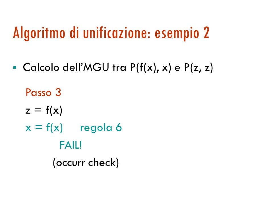 Algoritmo di unificazione: esempio 2