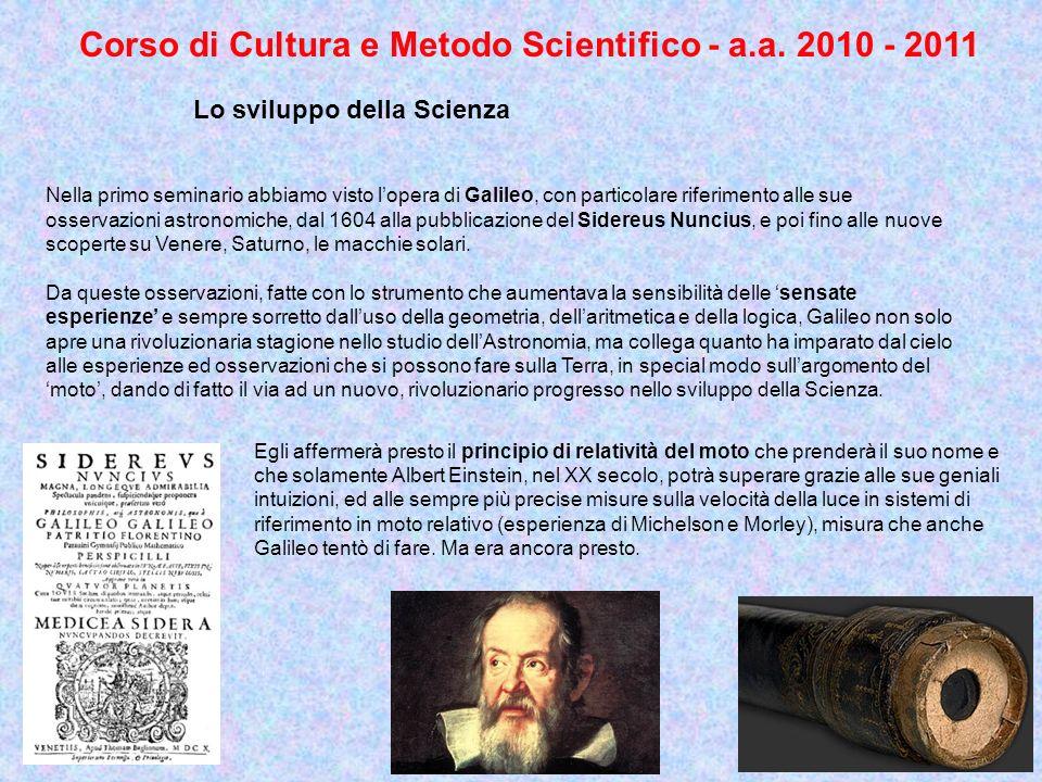 Corso di Cultura e Metodo Scientifico - a.a. 2010 - 2011