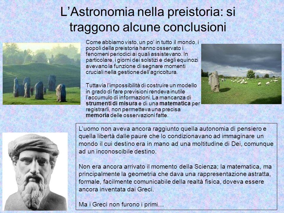 L'Astronomia nella preistoria: si traggono alcune conclusioni