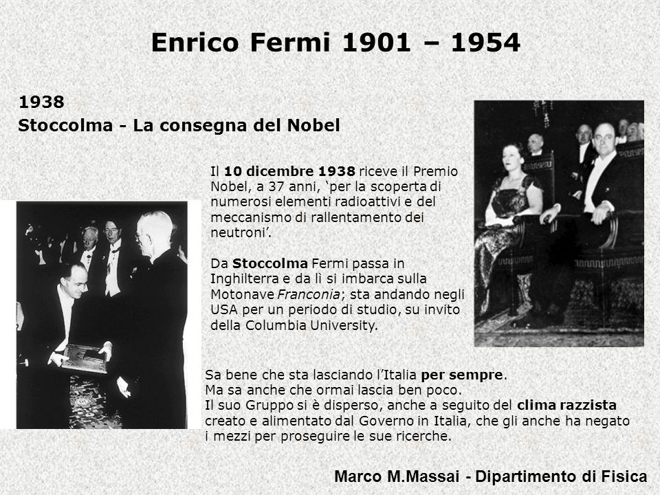 1938 Stoccolma - La consegna del Nobel