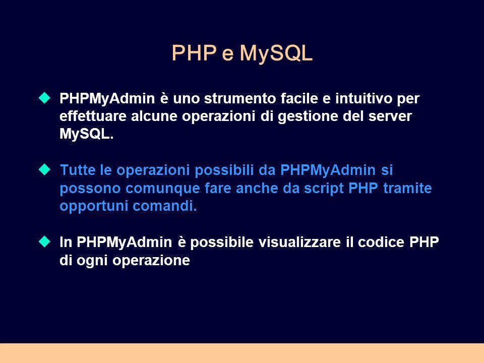 PHP e MySQL PHPMyAdmin è uno strumento facile e intuitivo per effettuare alcune operazioni di gestione del server MySQL.