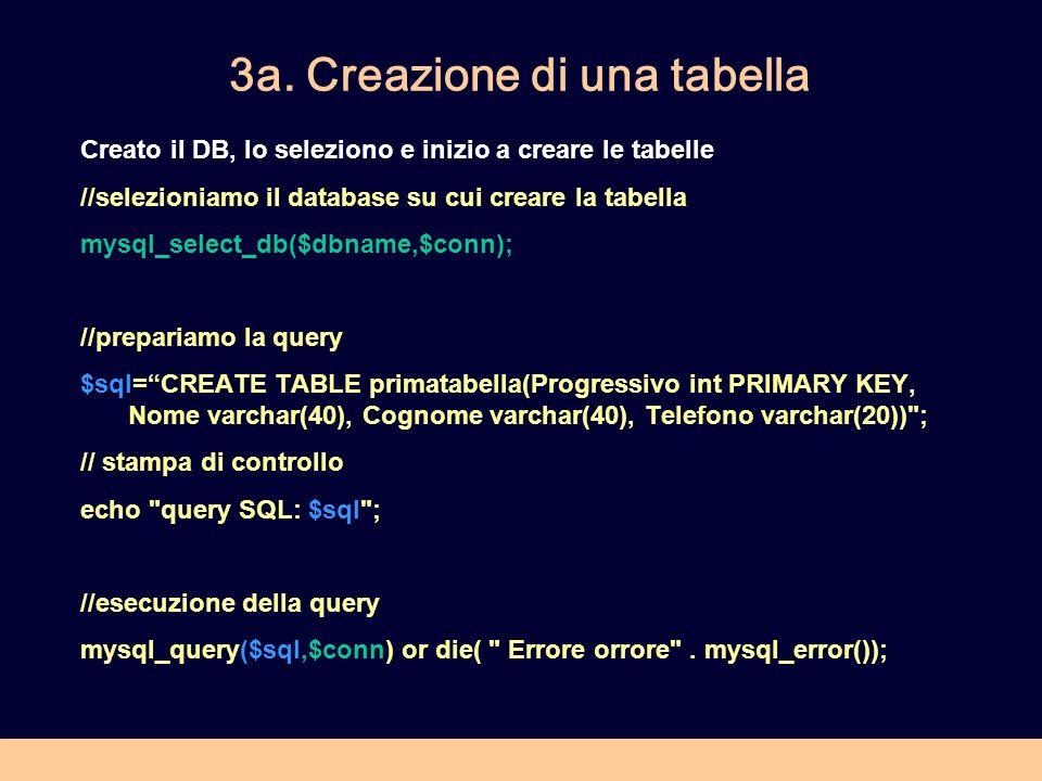 3a. Creazione di una tabella