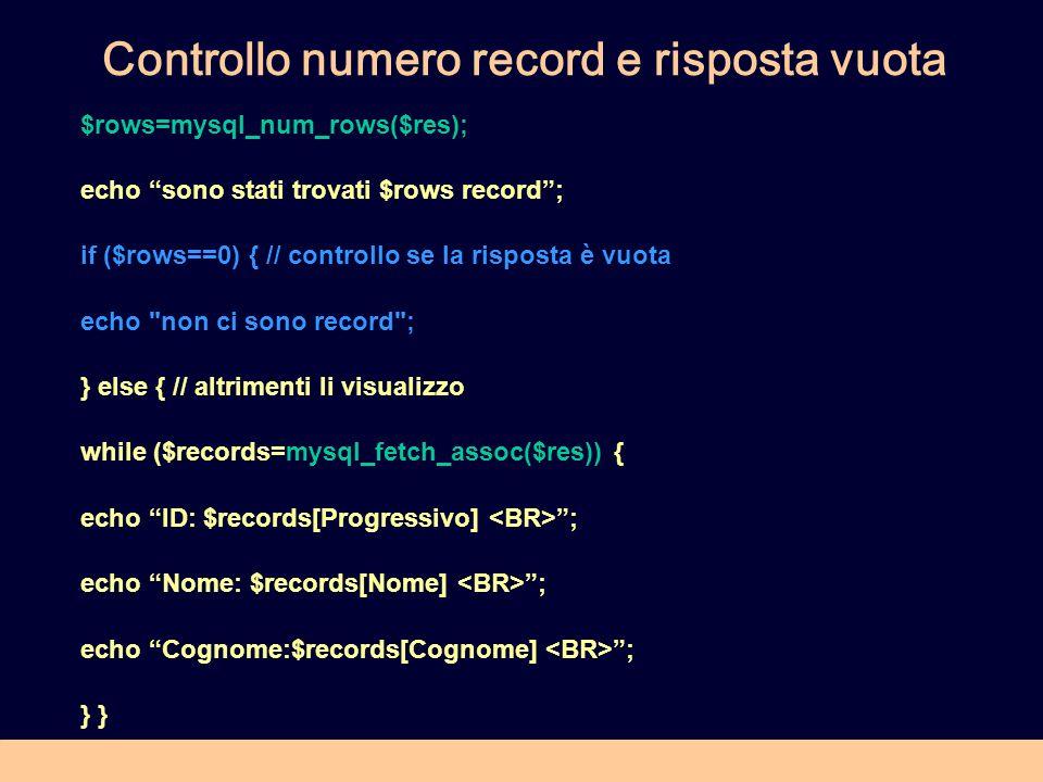 Controllo numero record e risposta vuota