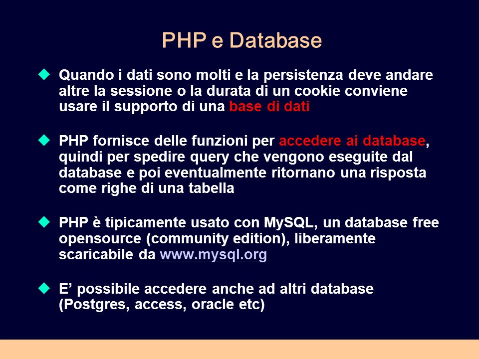 PHP e Database