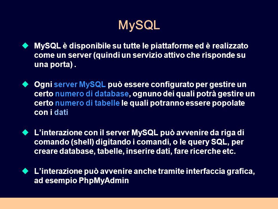 MySQL MySQL è disponibile su tutte le piattaforme ed è realizzato come un server (quindi un servizio attivo che risponde su una porta) .