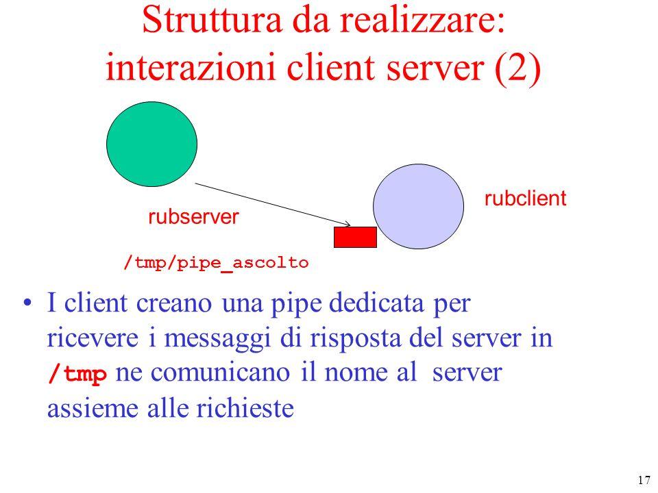 Struttura da realizzare: interazioni client server (2)