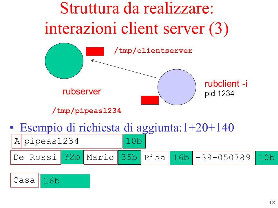 Struttura da realizzare: interazioni client server (3)