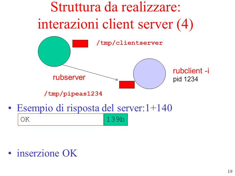 Struttura da realizzare: interazioni client server (4)