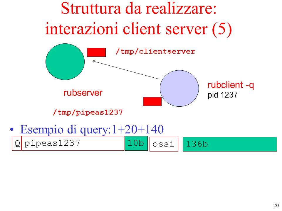 Struttura da realizzare: interazioni client server (5)