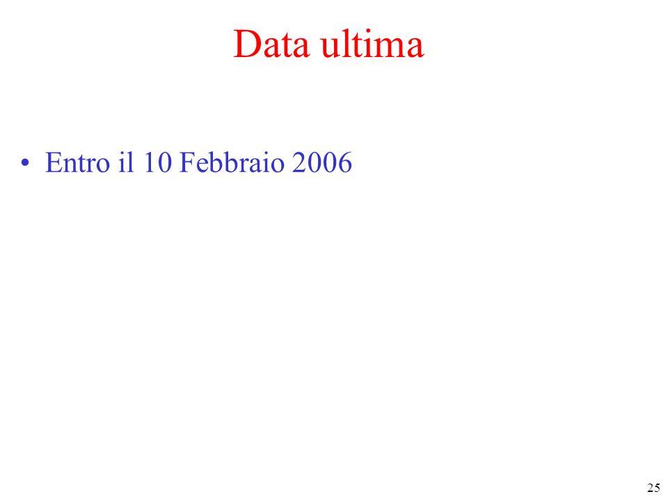 Data ultima Entro il 10 Febbraio 2006
