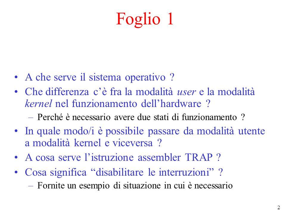 Foglio 1 A che serve il sistema operativo