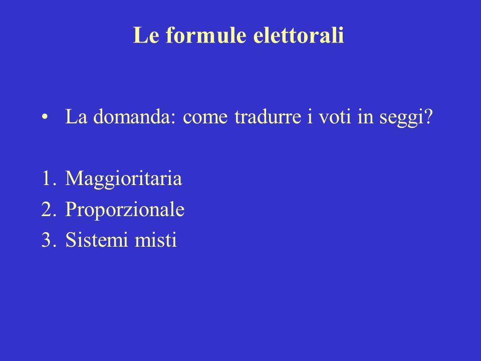 Le formule elettorali La domanda: come tradurre i voti in seggi