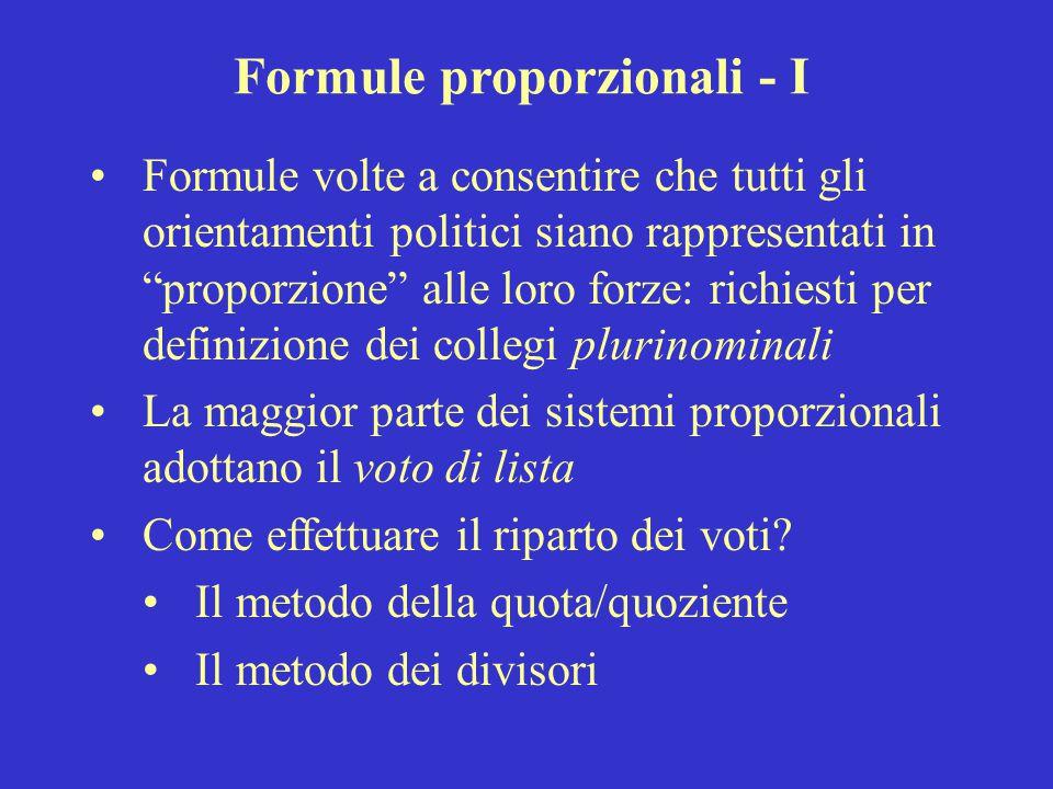 Formule proporzionali - I