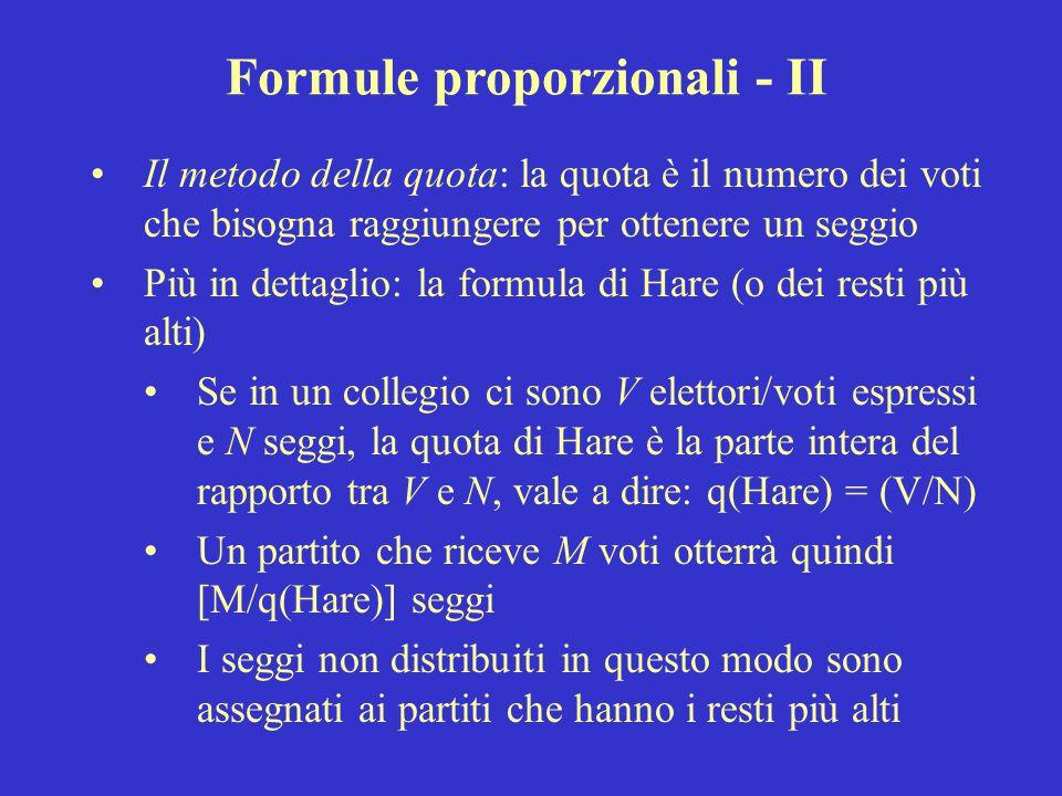 Formule proporzionali - II
