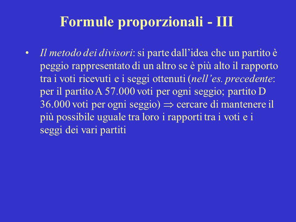 Formule proporzionali - III