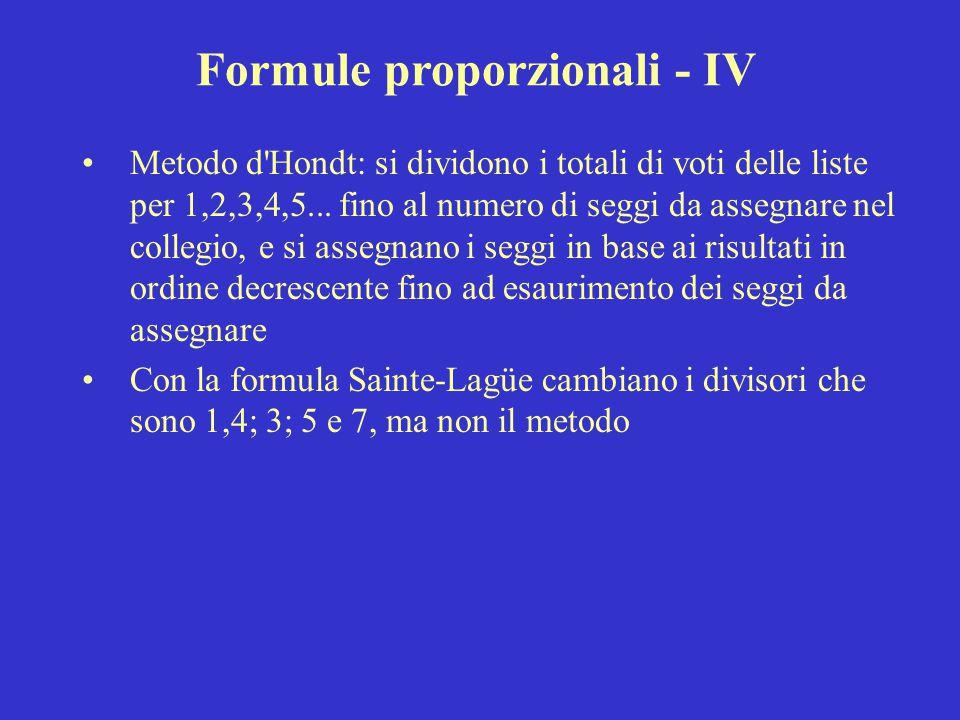 Formule proporzionali - IV