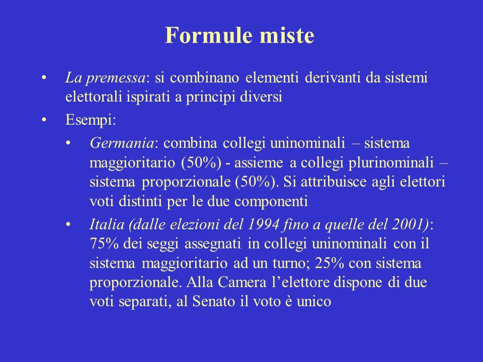 Formule miste La premessa: si combinano elementi derivanti da sistemi elettorali ispirati a principi diversi.