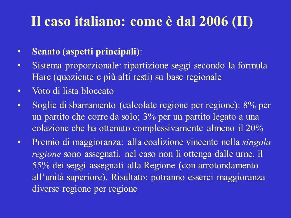 Il caso italiano: come è dal 2006 (II)