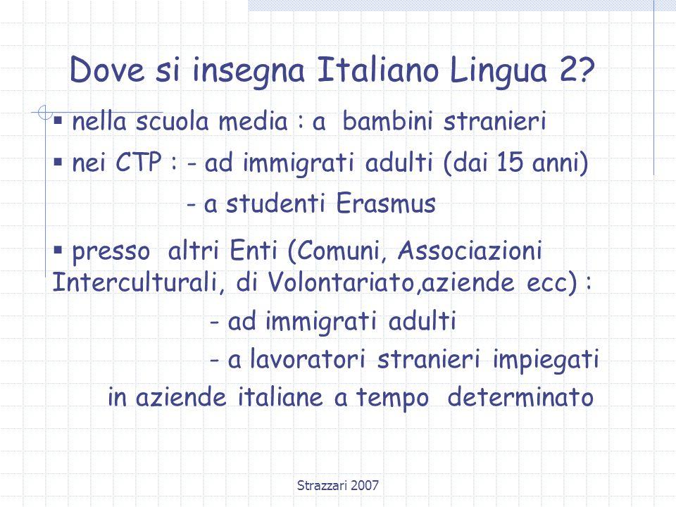 Dove si insegna Italiano Lingua 2