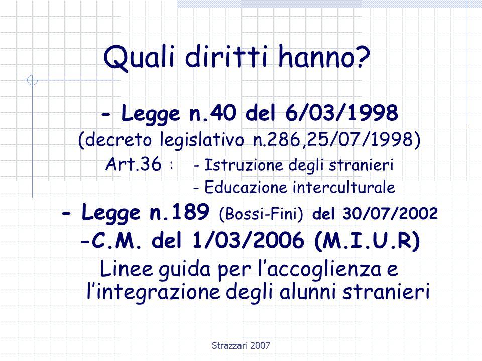 Quali diritti hanno - Legge n.40 del 6/03/1998