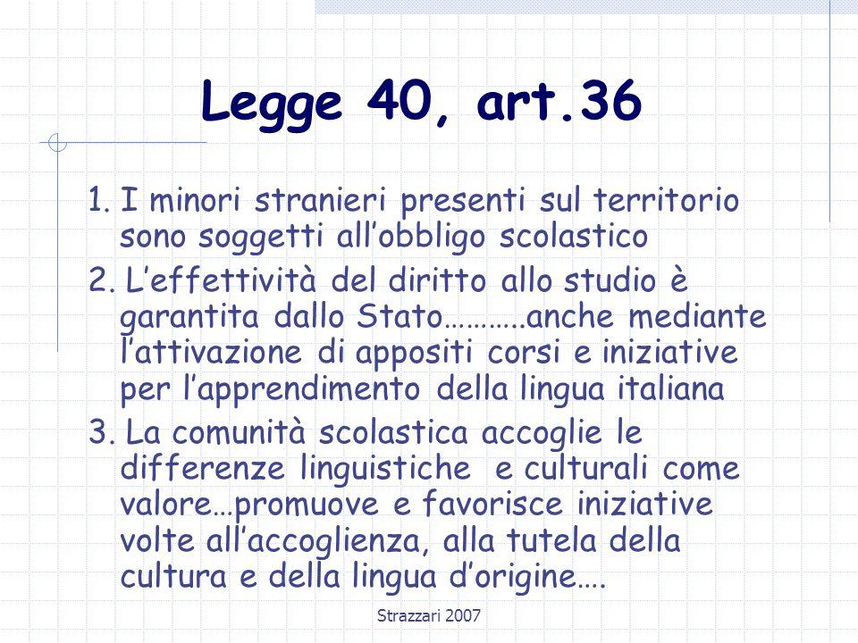 Legge 40, art.36 1. I minori stranieri presenti sul territorio sono soggetti all'obbligo scolastico.