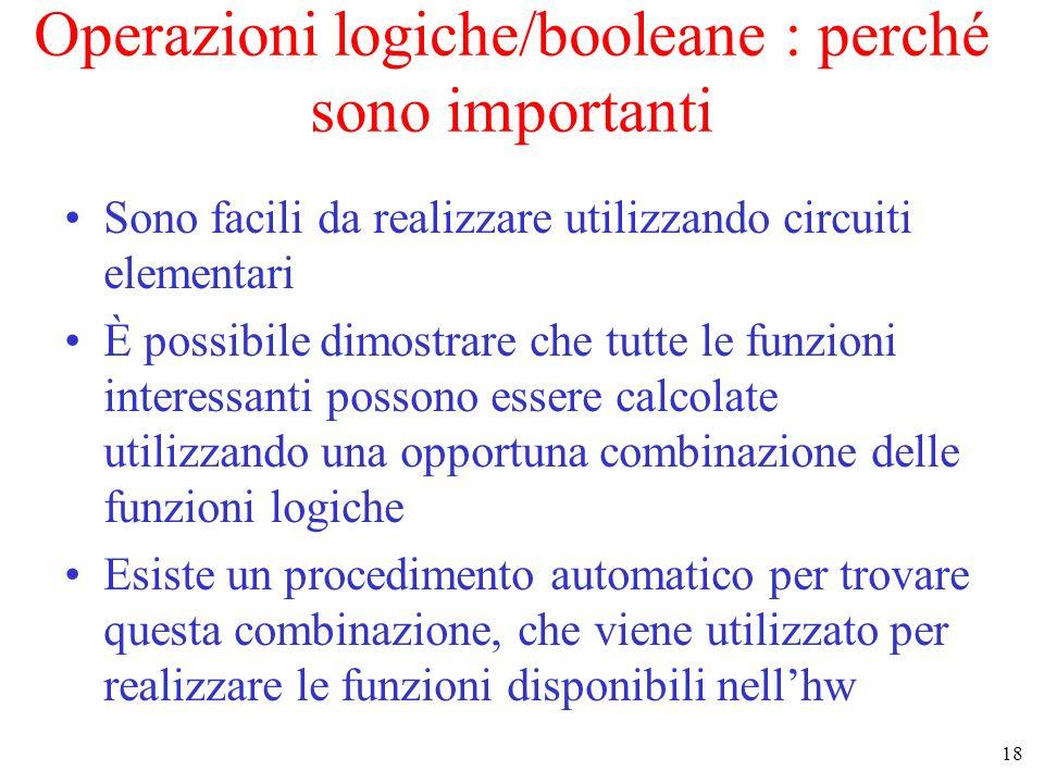 Operazioni logiche/booleane : perché sono importanti