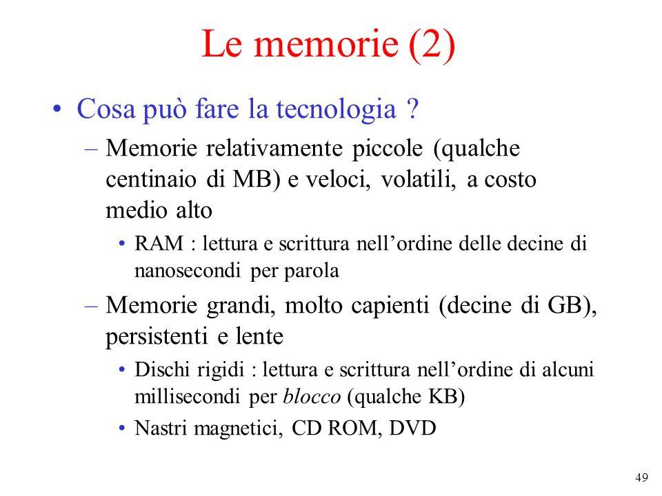 Le memorie (2) Cosa può fare la tecnologia