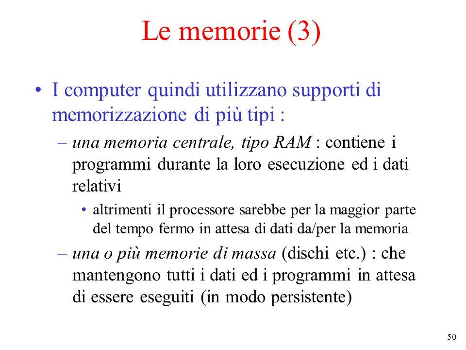 Le memorie (3) I computer quindi utilizzano supporti di memorizzazione di più tipi :