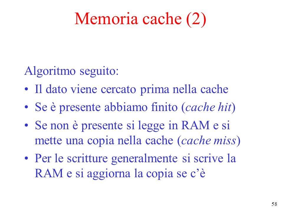 Memoria cache (2) Algoritmo seguito: