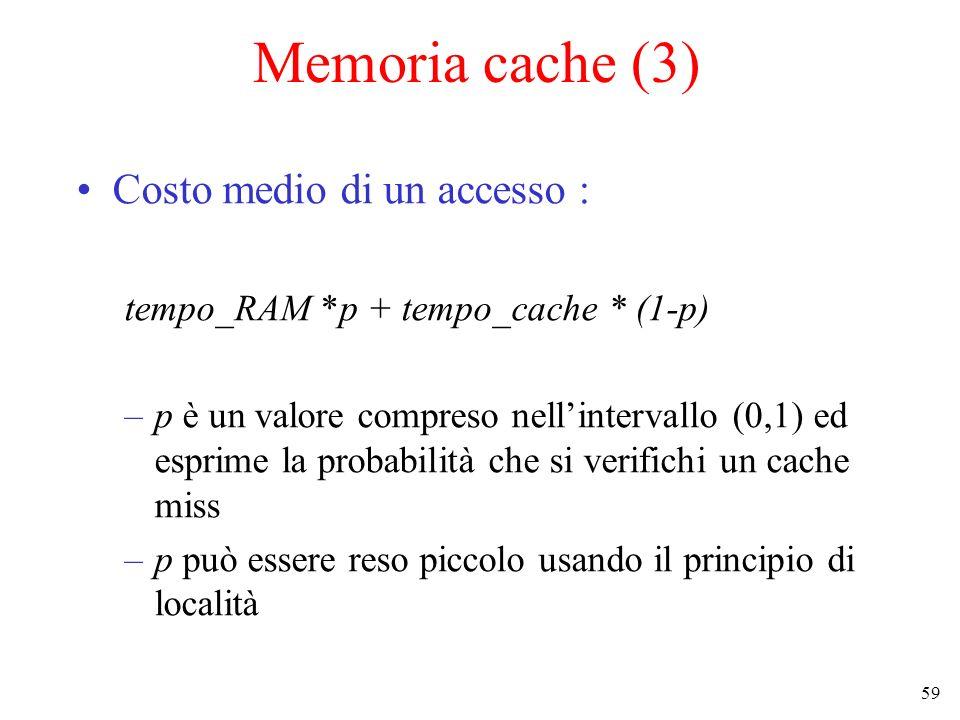 Memoria cache (3) Costo medio di un accesso :