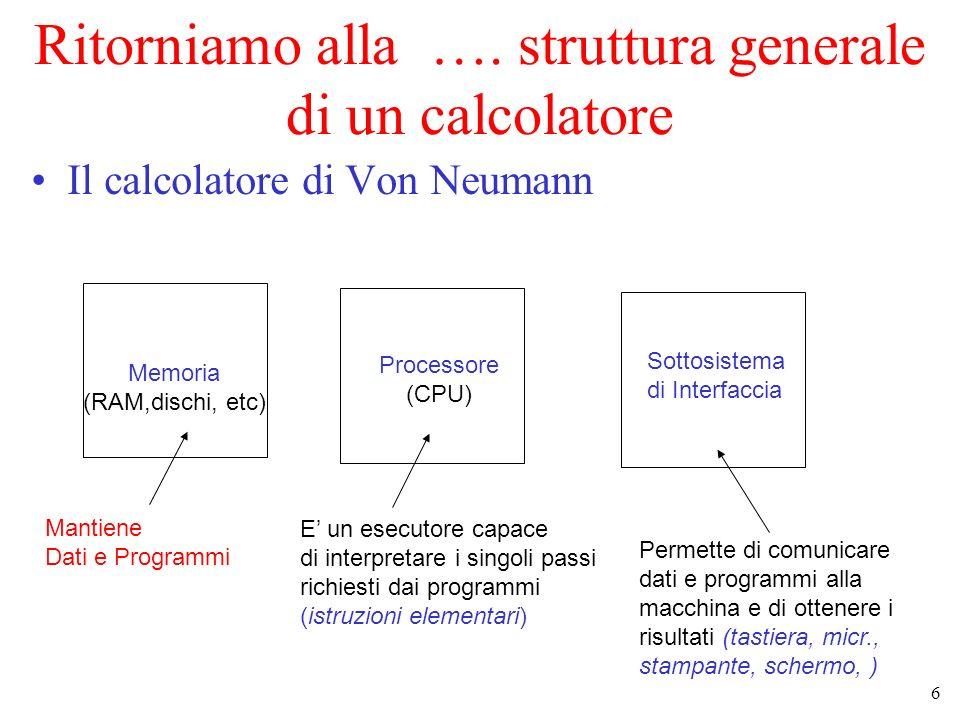 Ritorniamo alla …. struttura generale di un calcolatore