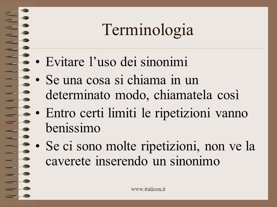 Terminologia Evitare l'uso dei sinonimi
