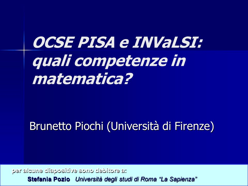 OCSE PISA e INVaLSI: quali competenze in matematica