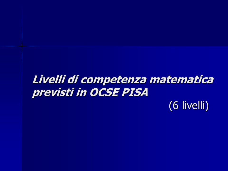 Livelli di competenza matematica previsti in OCSE PISA (6 livelli)