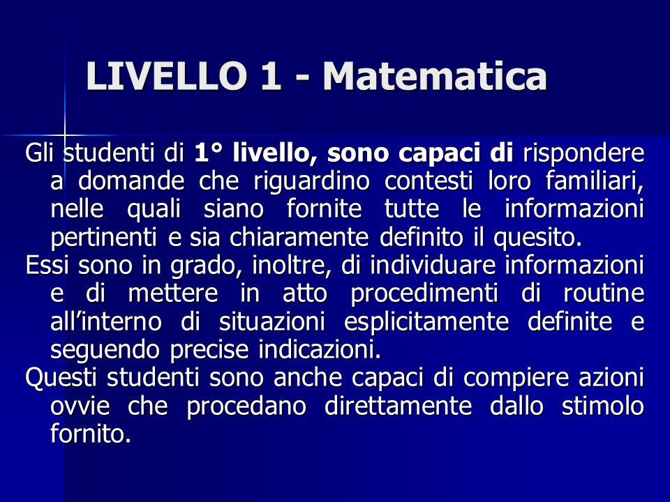 LIVELLO 1 - Matematica