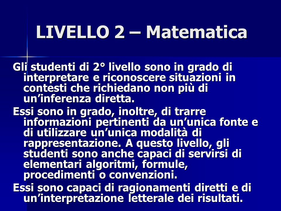 LIVELLO 2 – Matematica