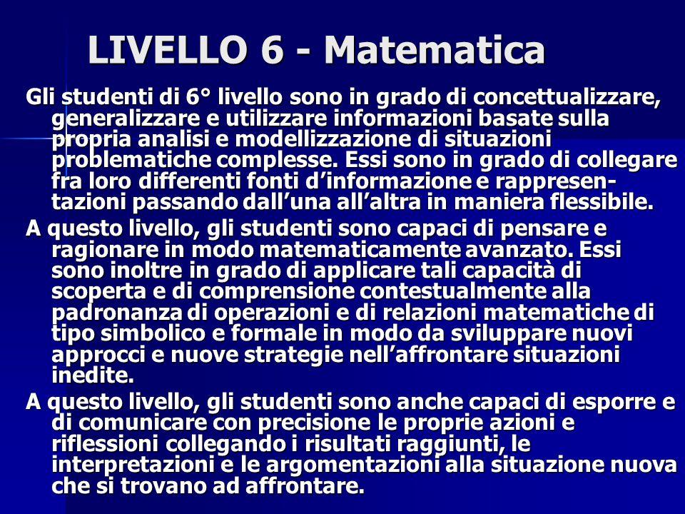 LIVELLO 6 - Matematica