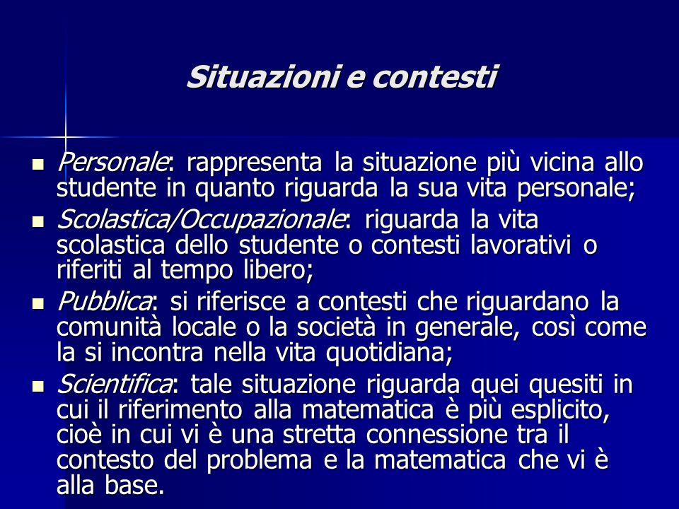 Situazioni e contesti Personale: rappresenta la situazione più vicina allo studente in quanto riguarda la sua vita personale;