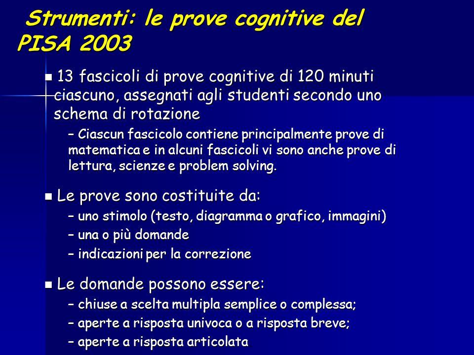 Strumenti: le prove cognitive del PISA 2003